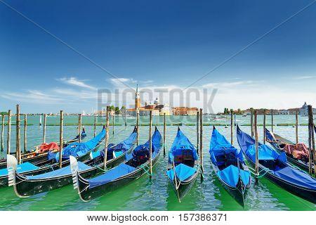 View Of Gondolas On The Venetian Lagoon, Venice, Italy