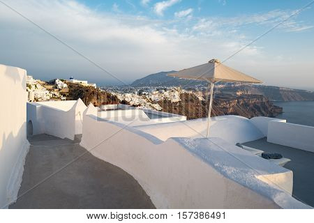 Greece Santorini island Imerovigli traditional architectures on the caldera pathway