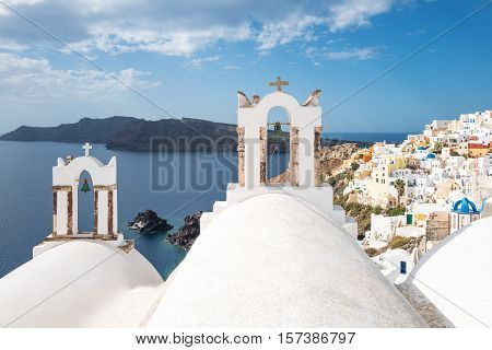 Greece Santorini island Oia panorama of the village with traditional architectures