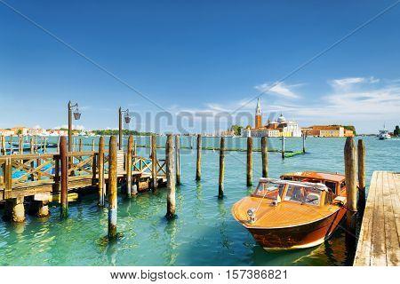 Boat Parked Beside The Riva Degli Schiavoni, Venice, Italy