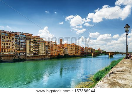 View Of The Ponte Santa Trinita In Florence, Tuscany, Italy