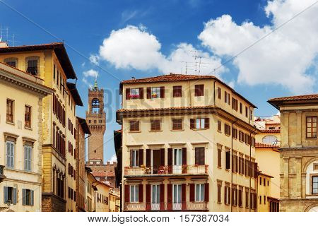 Facades Of Old Houses On The Piazza Santa Croce, Florence, Italy