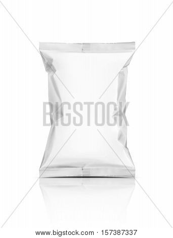 blank packaging snack pouch isolated on white background with clipping path ready for package design