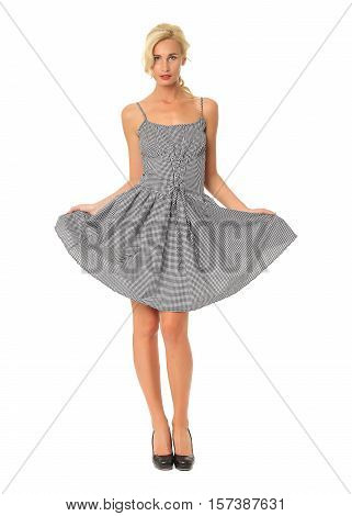 Portrait Of Flirtatious Woman In Gray Cocktail Dress Isolated On White
