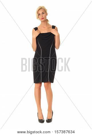 Full Length Of Flirtatious Woman In Black Dress Isolated On White