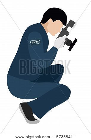 Forensic scientist photographs evidence. Flat illustration. Murder investigation