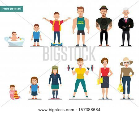 People generations at different ages. Smiling positive people. Man and Woman aging set. White background. Flat illustration.