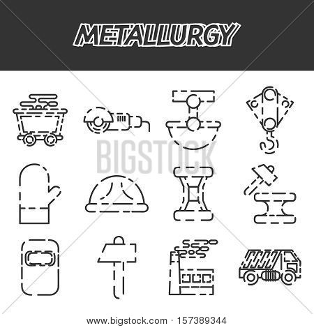 Metallurgy icon set . Vector Illustration. Isolated Icons collection on white background for design