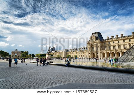 The View Of The Passage Richelieu And The Triumphal Arch On The Square Of Carrousel, Paris.