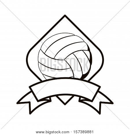 gray scale volleyball tournament emblem with ball vector illustration