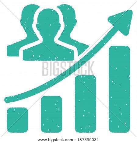 Audience Growth Chart grainy textured icon for overlay watermark stamps. Flat symbol with unclean texture. Dotted vector cyan ink rubber seal stamp with grunge design on a white background.