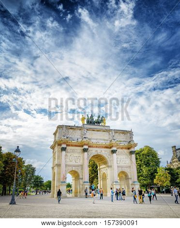 The View Of The Triumphal Arch On The Square Of Carrousel. Paris.