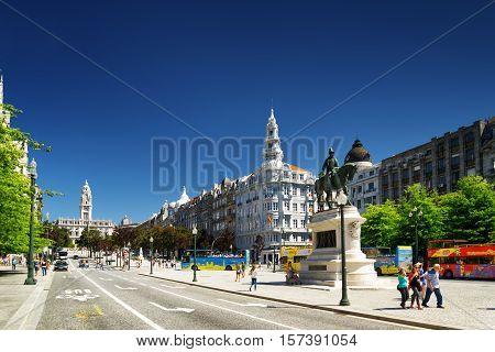 The Liberty Square In The Historic Centre Of Porto.