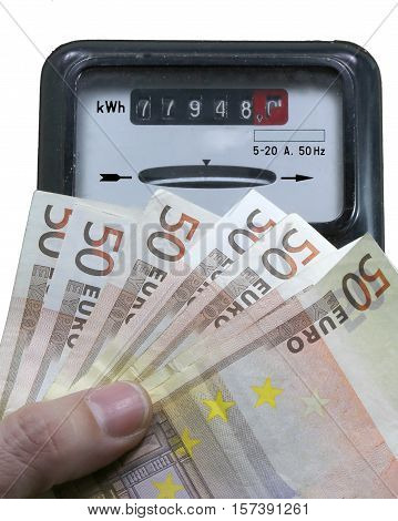 counter for measuring the electrical energy consumed with euro banknotes European