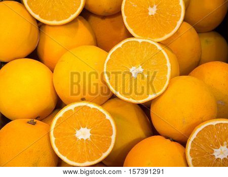 ripe Sicilian oranges for sale at the greengrocer