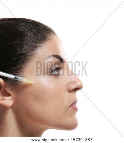 Procedure of facial injection isolated on white