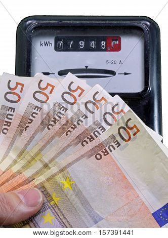 Euro Banknotes To Pay The Electricity Bill And The Meter