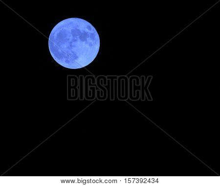 Blue Moon In The Dark Sky On A Night