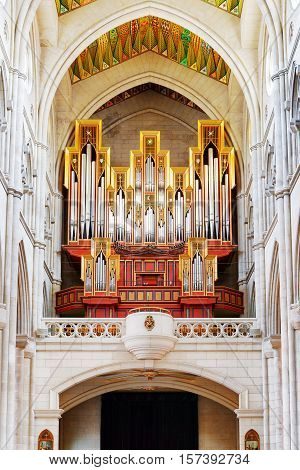 View Of The Pipe Organ From Place For The Parishioners In The Cathedral Of Saint Mary The Royal Of L
