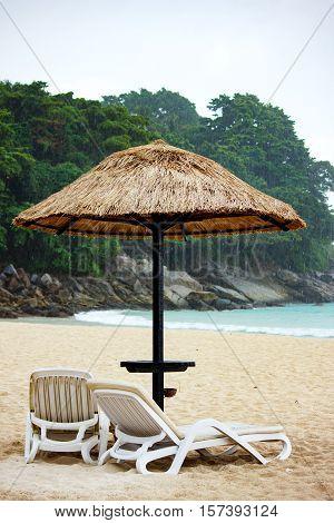 Tropical Rain At Sandy Coastine
