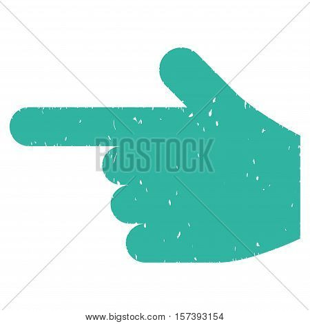 Hand Pointer Left grainy textured icon for overlay watermark stamps. Flat symbol with dirty texture. Dotted vector cyan ink rubber seal stamp with grunge design on a white background.