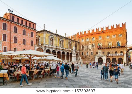 Street Cafes On Piazza Delle Erbe (market Square), Verona, Italy