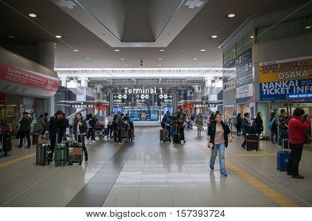 Osaka, Japan - November 2016: Entrance area around Terminal 1 of  Kansai International Airport (KIX), Osaka, Japan. Kansai Airport is one of the busiest airports in Japan and an Asian hub, with 780 weekly flights to Asia and Australasia.
