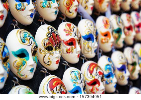 Venetian Full-face Masks For Carnival In Shop. Venice, Italy