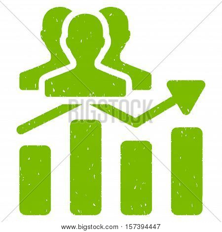 Audience Chart Trend grainy textured icon for overlay watermark stamps. Flat symbol with unclean texture. Dotted vector eco green ink rubber seal stamp with grunge design on a white background.