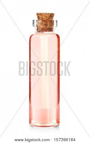 Essential orange aroma oil isolated on white