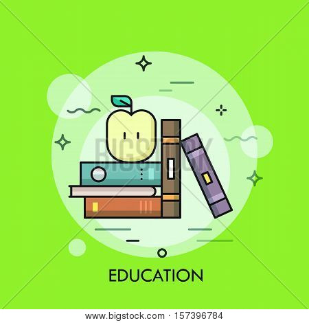 Thin line icon with flat design element of shelf with books and apple, science fiction literature, education information, learn from textbook. Modern style logo vector illustration concept.