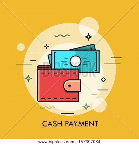 Modern minimal flat thin line wallet concept vector illustration. Mobile banking, online finance, e-commerce banner template. For mobile app, web, banner, poster, flyer, header, blog post.