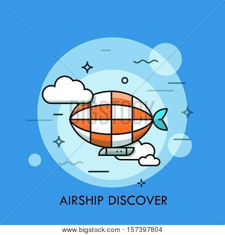 Thin line icon with flat design element of horizon discoveries, inspiring dream, exploratory mission, traveling by airship, opening unknown. Modern style logo vector illustration concept.