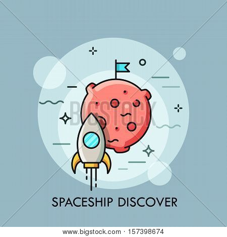 Rocket flying to the Moon, space shuttle taking off on mission. Startup business concept. Spacecraft launch icon. Vector illustration in thin line style for website, banner, poster, presentation.