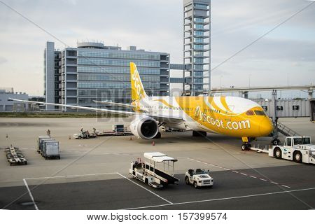 Osaka, Japan - October 2016: Scoot aircraft towed at Kansai International Airport (KIX), Osaka, Japan. Scoot, Scoot Pte Ltd.,  is a Singaporean low-cost long-haul airline owned by Singapore Airlines.