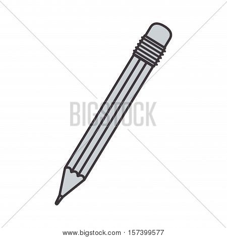 gray silhouette pencil with eraser vector illustration