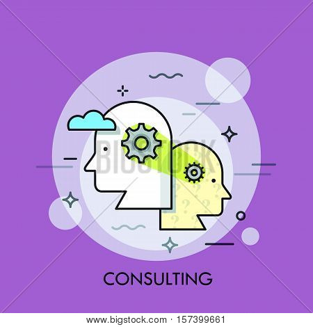 Teamwork, professional cooperation and business development strategy concept, collective thinking. Consulting service logo, icon. Vector illustration in thin line style for website, banner, header.