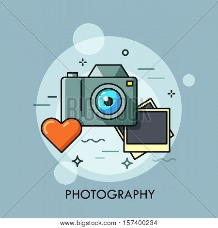 Photo camera, printed photos and heart. Photography lovers and favorite hobby concept. Photo service advertisement, logo. Vector illustration in thin line style for website, banner, header, promo.