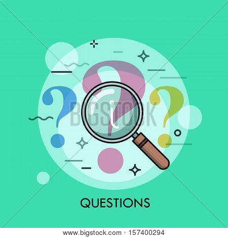 Question mark under review with magnifying glass. Information search process, problem analyzing, answer finding and research concept, icon. Vector illustration in thin line style for website, banner.