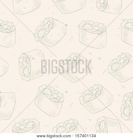 Seamless pattern of sushi Gunkan Spicy Ebi, sketsh