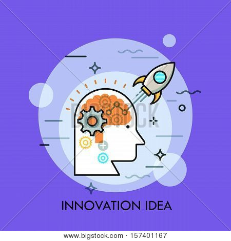 Human head and space rocket taking off on mission. Innovation idea management, scientific research, startup launch business concept. Vector illustration in thin line style for website, banner, poster.