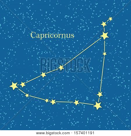Capricornus zodiacal constellation. Represented in form of a sea goat. Horned goat. Astronomical constellation and astrological zodiac symbol. Horoscope sign of the zodiac. Western astrology concept.
