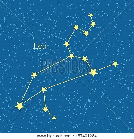 Leo zodiac on background of cosmic sky. Fifth astrological sign of the zodiac, originating from constellation of Leo. Horoscope sign of the zodiac. Astrology and mythology concept. Vector