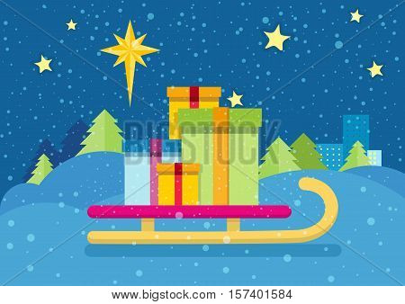 Christmas presents on the sledge on the background of snowy landscape and night star sky. Toboggan with gift boxes. New Year and Xmas concept. Sleigh carrying cadeaus. Star of Bethlehem. Vector