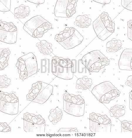 Seamless pattern of sushi Gunkan Spicy Sake with wasabi, sketch