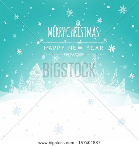 Merry Christmas Landscape, Christmas greeting card light vector background. Merry Christmas holidays wish design. Happy new year message. Vector illustration