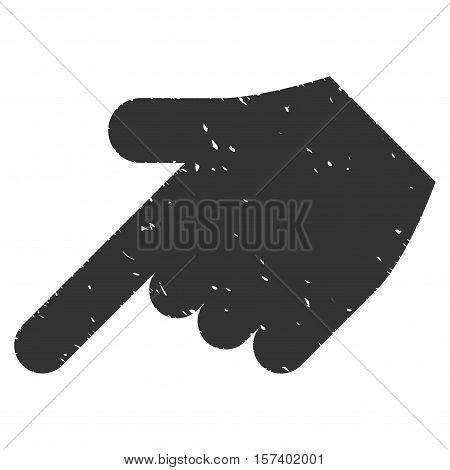 Hand Pointer Left Down grainy textured icon for overlay watermark stamps. Flat symbol with dirty texture. Dotted vector gray ink rubber seal stamp with grunge design on a white background.