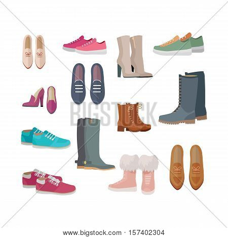 Set of woman s shoes. Flat design vector. Ankle and mid boots, sneakers, loafers, moccasins illustrations. Collection of footwear for all seasons. For store ad, fashion concepts. On white background