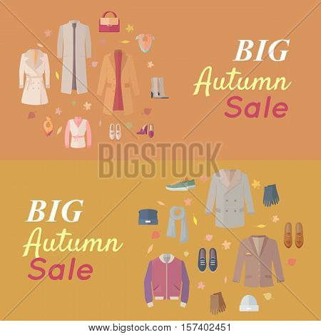 Big autumn sales vector concept. Flat design. Warm womens and mens clothes, shoes and accessories for cold season on wite background with fallen leaves and sticker with text For store discounts ad design