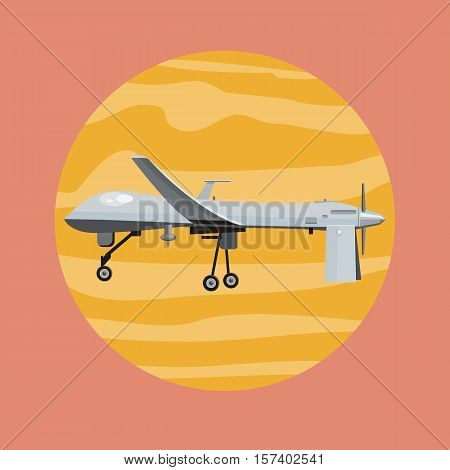 Flying drones vector illustration. Flat design. Drone with propellers and mounted camera. Modern technology. Unmanned aerial vehicle. For store ad, spy concepts, app icons